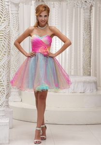 Attractive Multi-color Beaded Zipper-up Prom Dress for Women with Flower