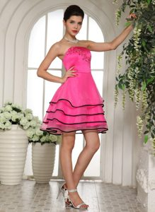 Hot Pink and Black Unique Beaded Short Prom Formal Dress with Appliques