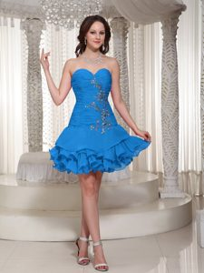 Ruched and Beaded Sweetheart Zipper-up Elegant Blue Prom Dress for Ladies