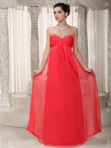 Lovely Special Fabric V-neck Sweetheart Red Chiffon Prom Dress for Women