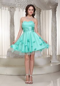 Romantic Sweetheart Tulle Dress for Prom Queen in Turquoise with Flowers