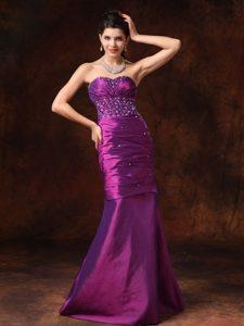 Wonderful Purple Mermaid Sweetheart Beaded Prom Dresses for Ladies