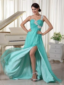 Turquoise Appliqued One Shoulder Prom Dress with Side Slit in Elastic Woven Satin