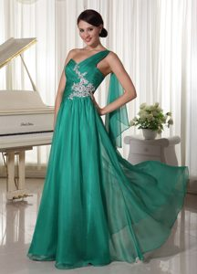 Turquoise One Shoulder Chiffon Prom Formal Dresses with Appliques and Ruching