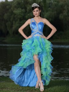 High-low Multi-color Prom Dresses for Graduation with Ruffles and Single Shoulder