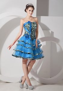 Teal A-line Strapless Prom Dress for Graduation with Ruffles in Organza for Cheap