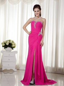 Hot Pink Sweetheart Chiffon Long Prom Dress with Beading and Side Slit