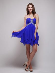 Royal Blue Empire Sweetheart Mini Prom Cocktail Dresses with Beading