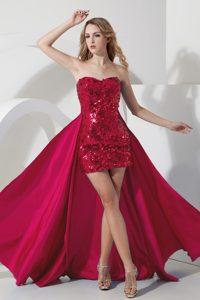 Detachable Wine Red Strapless Mini Prom Celebrity Dresses in Sequins Best Seller