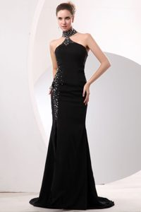 Sexy Black Mermaid High-neck Prom Long Dress for Party with Beading in