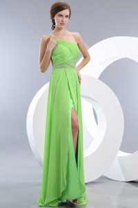 2013 Sexy Light Green One Shoulder Holiday Prom Dress with Beading