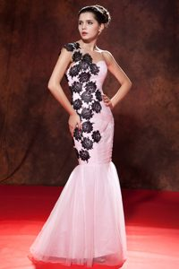 Dramatic Baby Pink Mermaid Prom Dress in Organza with Embroidery Best Seller