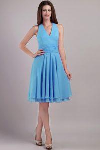 Aqua Blue Empire Halter Top Knee-length Prom Formal Dress for Cheap