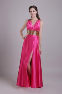 Hot Pink Empire V-neck Long Prom Dress in with Side Slit and Belt