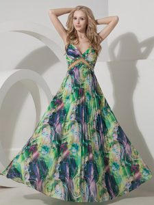 Perfect Colorful Empire Straps Prom Holiday Dress in Printing with Pleats on Sale