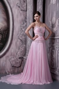 Most Popular Baby Pink A-line Celebrity Dresses for Prom with Beading