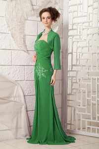 Green One Shoulder Strapless Prom Holiday Dress with Appliques Made