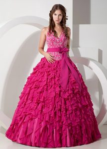 Necessary Hot Pink Halter Top Chiffon Quinceanera Dresses with Bowknot Sash