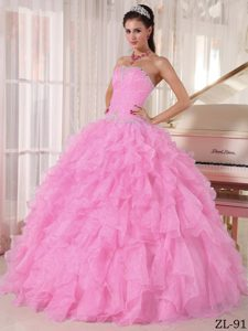 Exquisite Baby Pink Ball Gown Strapless Quinces Dress in Organza with Beading