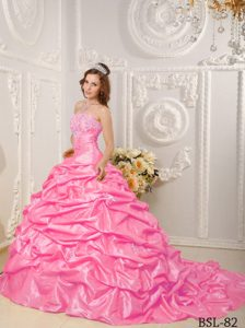 Delish Ball Gown Strapless Court Train Quinceanera Gown Dresses in Hot Pink