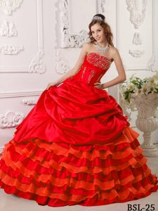 Tasty Ball Gown Strapless Beading Quinces Gown to Floor Length in Red