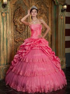 Exquisite Coral Red Sweetheart Quinceanera Gown in and Tulle with Lace