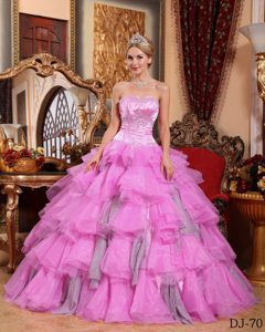 Best Organza Beading Sweetheart Quinceanera Dress Gown in Pink with Lace-up