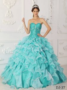 Dramatic Aqua Blue A-line Sweetheart Dresses for Quinces in and Organza