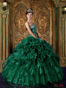 Wonderful Green Ball Gown Strapless Ruffled Dress for Quinceaneras in Organza