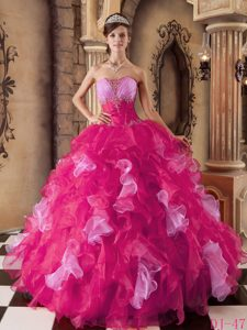 Unique Hot Pink Strapless Organza Beading Dresses for Quinceanera with Ruffles