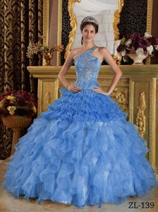 High Quality Blue One Shoulder Beading Dresses for Quince and Organza