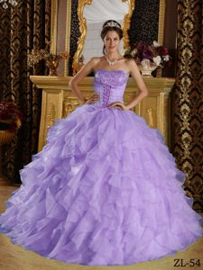 Qualified Lavender Strapless Dress for Quince and Organza with Beading