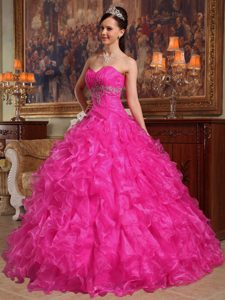 Dramatic Hot Pink Sweetheart Beading Quinceanera Dresses to Floor in Organza