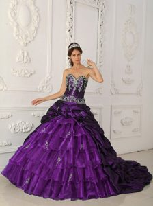 Shimmering Purple Quinceanera Dresses with Chapel Train in and Organza