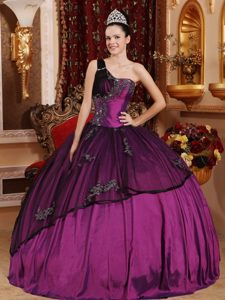 Newest Purple One Shoulder Beading Quinceaneras Dress in and Organza