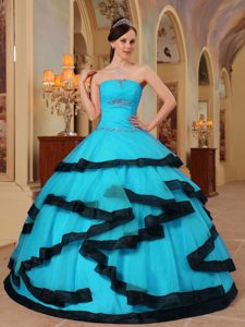 Baby Blue Strapless Cheap Dresses for Quinceanera with Appliques in Organza