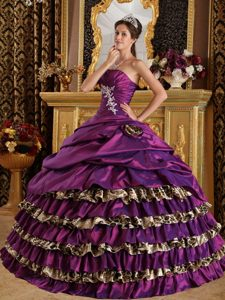 New Style One Shoulder Sweet 15 Dresses in Purple with Ruffle and Appliques