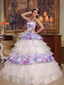 Multi-color Spaghetti Straps Quinceanera Gown Dress with Ruffles and Pattern