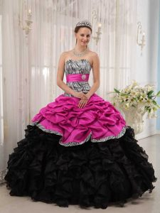 Brand New Hot Pink and Black Sweetheart Quinceanera Dresses with Pick-ups