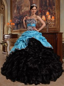 Ruffled Strapless Wonderful Quinceanera Gown Dress in Aqua Blue and Black