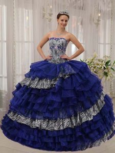 Trendy Sweetheart Quinceanera Gown Dresses in Blue with Ruffle and Beading
