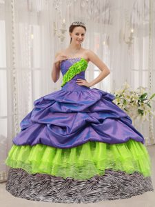 Multi-color Strapless Discount Sweet Sixteen Dresses with Pick-ups and Ruffle