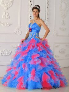 Popular Ruffled Organza Strapless Quinceanera Gown Dresses in Blue and Pink