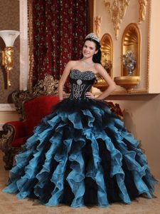 Exclusive Organza Ruffled Sweetheart Quinceanera Gown Dress in Multi-color