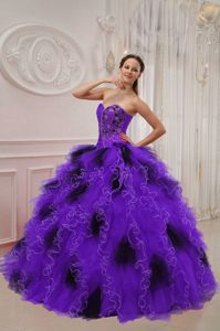 Best Sweetheart Purple and Black Quinceanera Dress with Ruffles and Beading