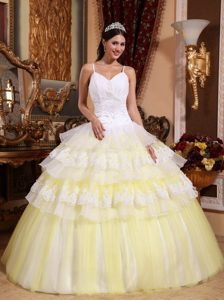 Spaghetti Straps White and Light Yellow Appliqued Sweet 16 Dress with Layers