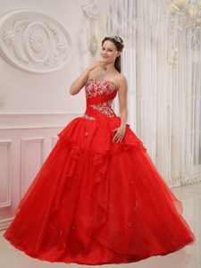 Red Strapless Ball Gown Tulle Quinceanera Dress with Appliques on Promotion