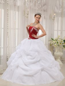 Red and White Strapless Quinceanera Gown Dress with Pick-ups and Appliques