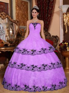 Pretty Strapless Lavender Layered Organza Quinceanera Dresses with Appliques
