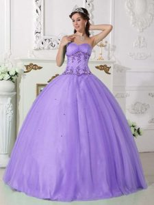 Purple Strapless Ball Gown Organza Quinceanera Dress with Appliques on Sale